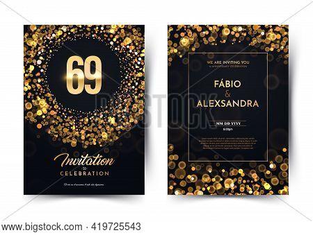 69th Years Birthday Vector Black Paper Luxury Invitation Double Card. Sixty Nine Years Wedding Anniv
