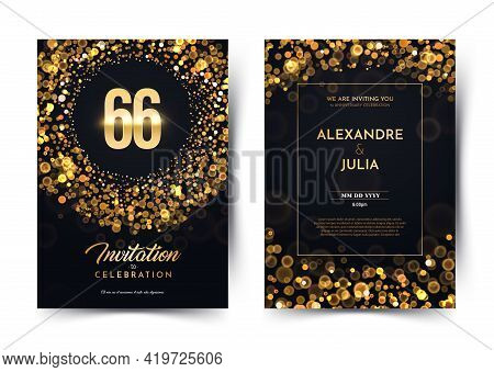66th Years Birthday Vector Black Paper Luxury Invitation Double Card. Sixty Six Years Wedding Annive
