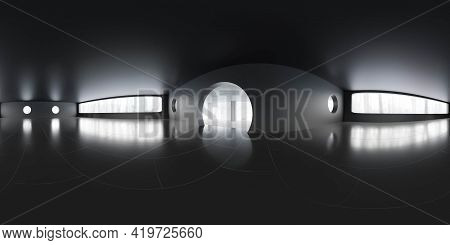 Full 360 Degree Panorama View Of Empty Dark Living Room Building Interior With Big Windows 3d Render