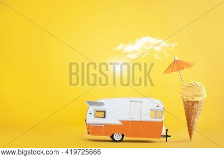 Toy Camper Van With Ice Cream Cone And Umbrella