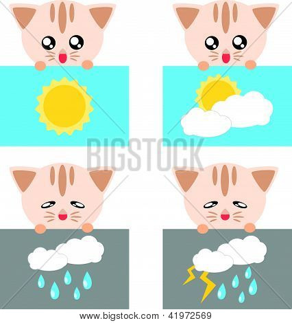 Paper weather icon cat sun cloud rain and lighting concept illustration poster