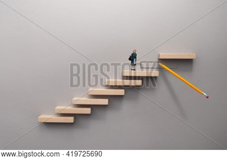 Pencil Sketch Bridging The Gap Between Wooden Steps For Female Miniature Figure To Climb