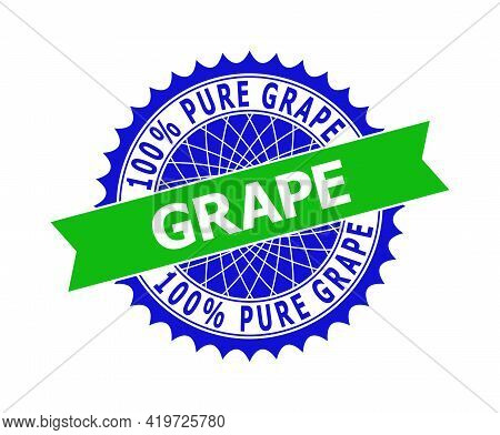 Vector 100 Percents Pure Grape Bicolor Template For Imprints With Clean Surface. Flat Clean Seal Sta