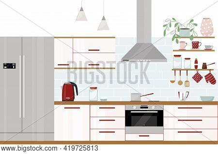 Vector Illustration Of A Beautiful Kitchen Interior. Flat Illustration. Modern Stylish Kitchen With