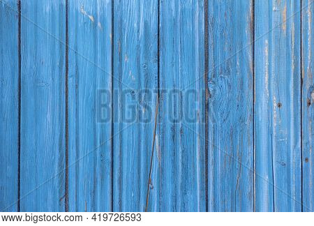 Wooden Background, Old Wooden Wall, Painted Blue, With Slits And Nails