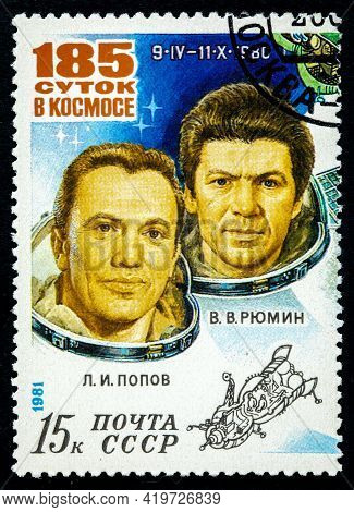 Soviet Union - Circa 1981: A Stamp Printed By The Soviet Union Shows 185 Days In A Space 09.04-11.10