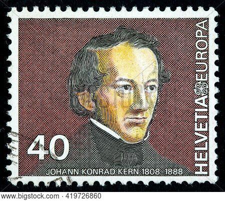 Switzerland - Circa 1980: Stamp Printed In Switzerland Shows Johann Konrad Kern (1808-1888), Swiss S