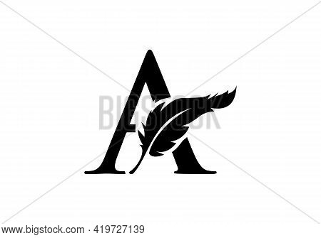 Feather Logo Design  With A Letter Vector. Law Logo With Feather And A Letter