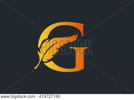 Feather Logo Design  With G Letter Vector. Law Logo With Feather And G Letter