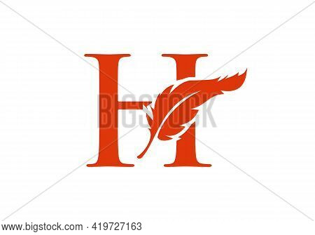 Feather Logo Design  With H Letter Vector. Law Logo With Feather And H Letter