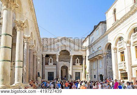 Split, Croatia - June 28, 2019: The Diocletian Palace In Split, Crotia. Built Fourth Century Ad. Cro