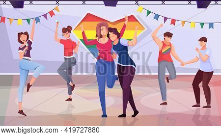 Lgbt Party Flat Background With Funny Young People Participating In Gathering Vector Illustration