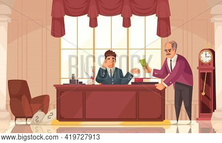 Dirty Money Corruption Crime Cartoon Composition With Bribing Major Executive Official In His Office