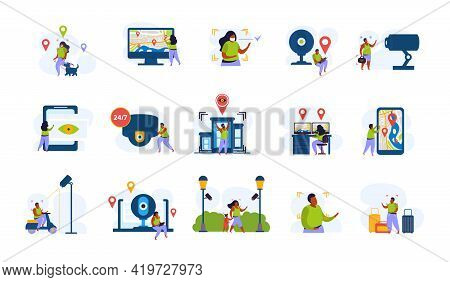 City Video Monitoring Flat Recolor Set With Isolated Characters Of People Under Smart Surveillance S