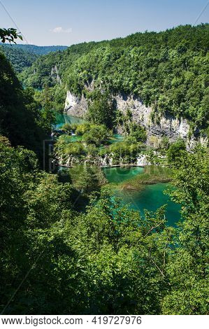 View Over The Lower Patrt Of The Plitvice Lakes National Park.