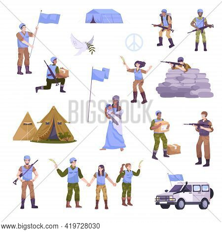 Peacekeepers Flat Isolated Icon Set With Symbols Of Peace Large Flags Military With Weapons Food And