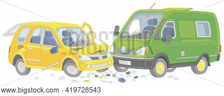 Traffic Accident With A Yellow Car And A Green Lorry Collided On A Road, Vector Cartoon Illustration