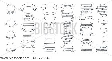 Ribbon Banners. Set Of Hand Drawn Ribbons Banners With Label, Tag And Quality Badges. Vector Illustr