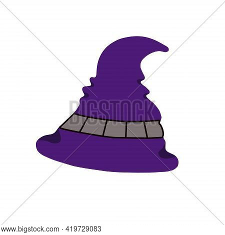 Witch Hat Festive Clothes, Cute Fancy Magic Accessory Vector Flat Style Simple Illustration, Isolate