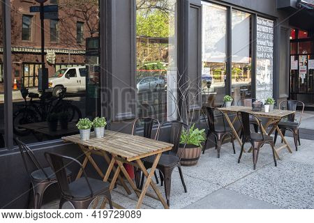 Brooklyn - April 23 2021: An Outdoor Restaurant During Covid Outbreak. Restaurants Started Serving M