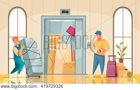 New House Interior Cartoon Composition With Moving Service Bringing Refrigerator Furniture Arranging