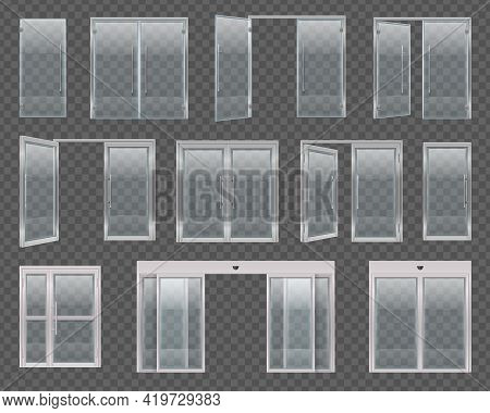 Glass Door Set With Realistic Images Of Windows And Doors With Hold Open Devices And Handles Vector