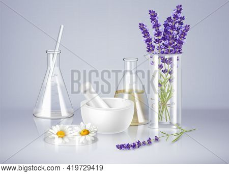 Aromatherapy Realistic Composition With Glass Ware Mortar And Fresh Lavender And Camomile Flowers Ve