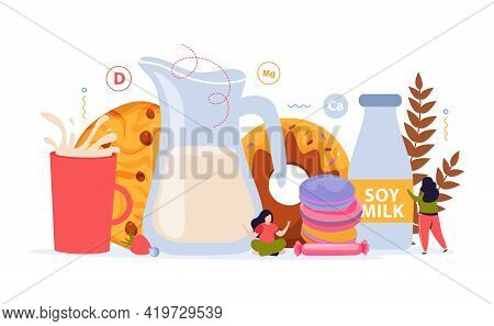 Milk Usage Flat Background With Bakery Products Bottle Of Soy Milk And Jug Of Cow Milk Vector Illust