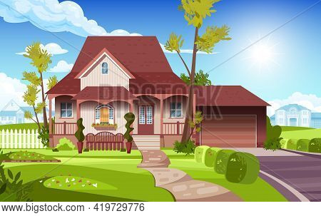 View Of The Front Yard Of The Suburban Country House Flat Vector Illustration