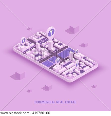 Sell Buy Rent Commercial Real Estate Apartment House Office Building Isometric Composition On Smartp