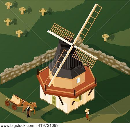 Smock Mill In Countryside Isometric View With Local Farmer Bringing Wheat To Windmill For Grinding V