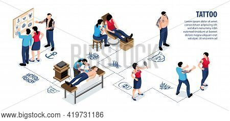 Tattoo Isometric Infographics With Clients Choosing Design Style And Artists Painting Man And Woman