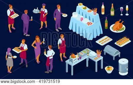 Banket Evening Reception Buffet Service Finger Food Stations Appetizers Grilled Chicken Wine Waiters