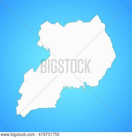 Highly Detailed Uganda Map With Borders Isolated On Background. Flat Style