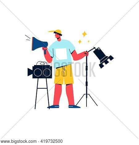 Flat Icon Of Camera Crew Worker With Megaphone Vector Illustration