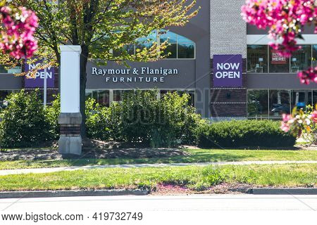 NORWALK, CONNECTICUT - MAY 6, 2021: Raymour and Flanigan furniture store front with sign