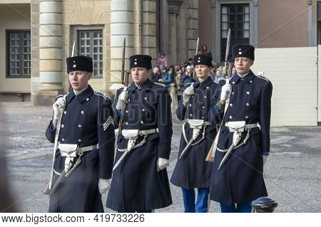 Changing Of The Guard Ceremony At Observation Deck Near The Royal Palace. Guard Of Honor Stockholm,