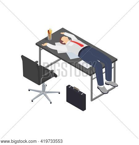 Professional Burnout Depression Frustration Isometric Composition With Human Character Of Worker Lyi