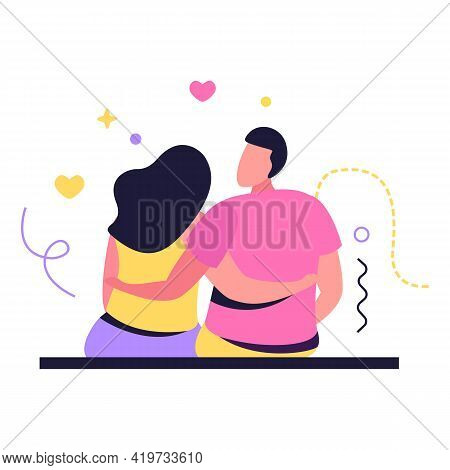 Hug Day Flat Composition With Human Characters Of Loving Couple Sitting Together Embracing Each Othe