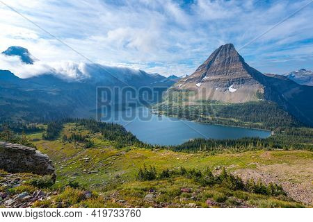 Hidden Lake And Pyramid-shaped Bearhat Mountain In Glacier National Park, Montana, Usa. Early Mornin