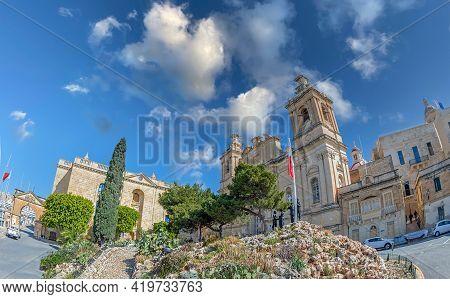 Valletta, Birgu, Malta - March 25, 2021: The Collegiate Church Of St Lawrence, An Order Of Saint Joh