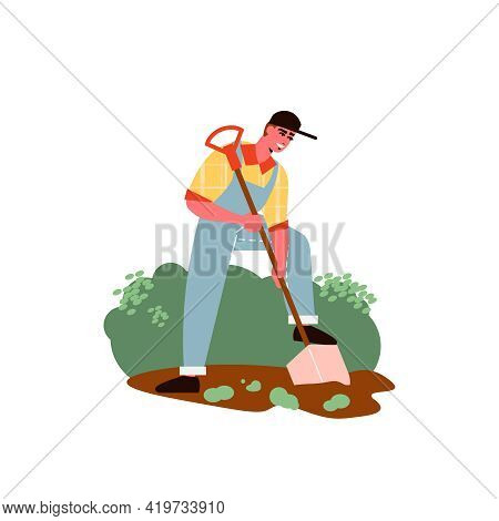 Gardening Composition With Character Of Male Gardener Digging Garden Ground Vector Illustration