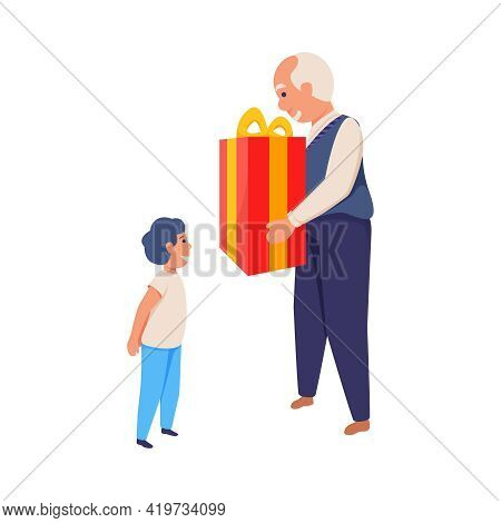 Smiling Grandpa Giving Present To Happy Boy Flat Isolated Vector Illustration
