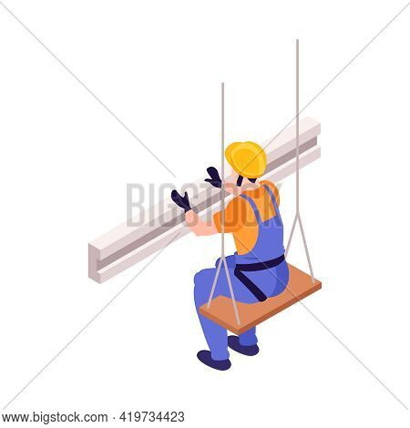 Isometric 3d Icon Of Ironworker In Helmet Sitting High Vector Illustration