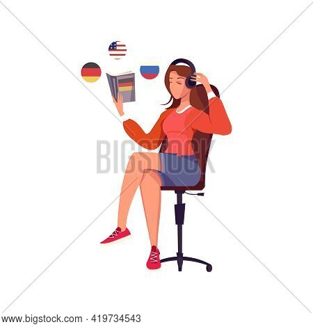 Woman Learning Foreign Languages With Book And Headphones Flat Vector Illustration