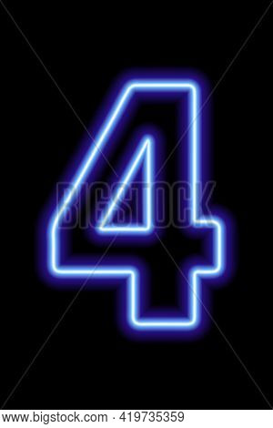 Neon Blue Number 4 On Black Background. Learning Numbers, Serial Number, Price, Place. Vector Illust
