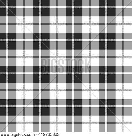 Scottish Pattern Monochrome Color. White Gray Black Plaid. Seamless Background Pattern. Textured Des