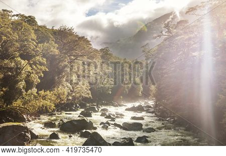 New Zealand River in jungle, beautiful mountains landscapes