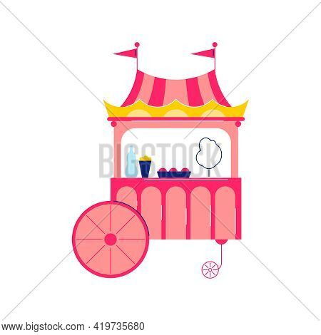 Circus Funfair Composition With Isolated Image Stall Selling Cotton Candies Vector Illustration