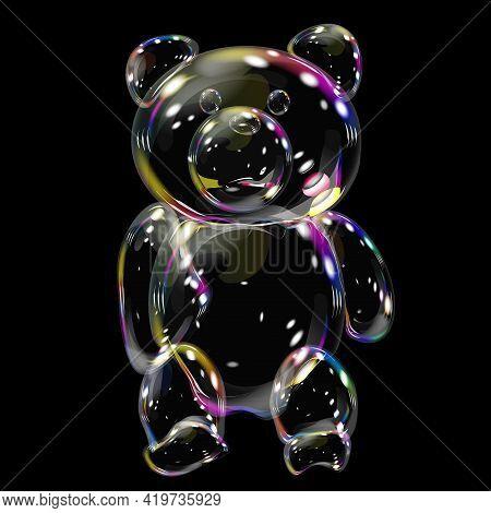 Baby Bear Soap Bubble Iridescent Beautiful Vector